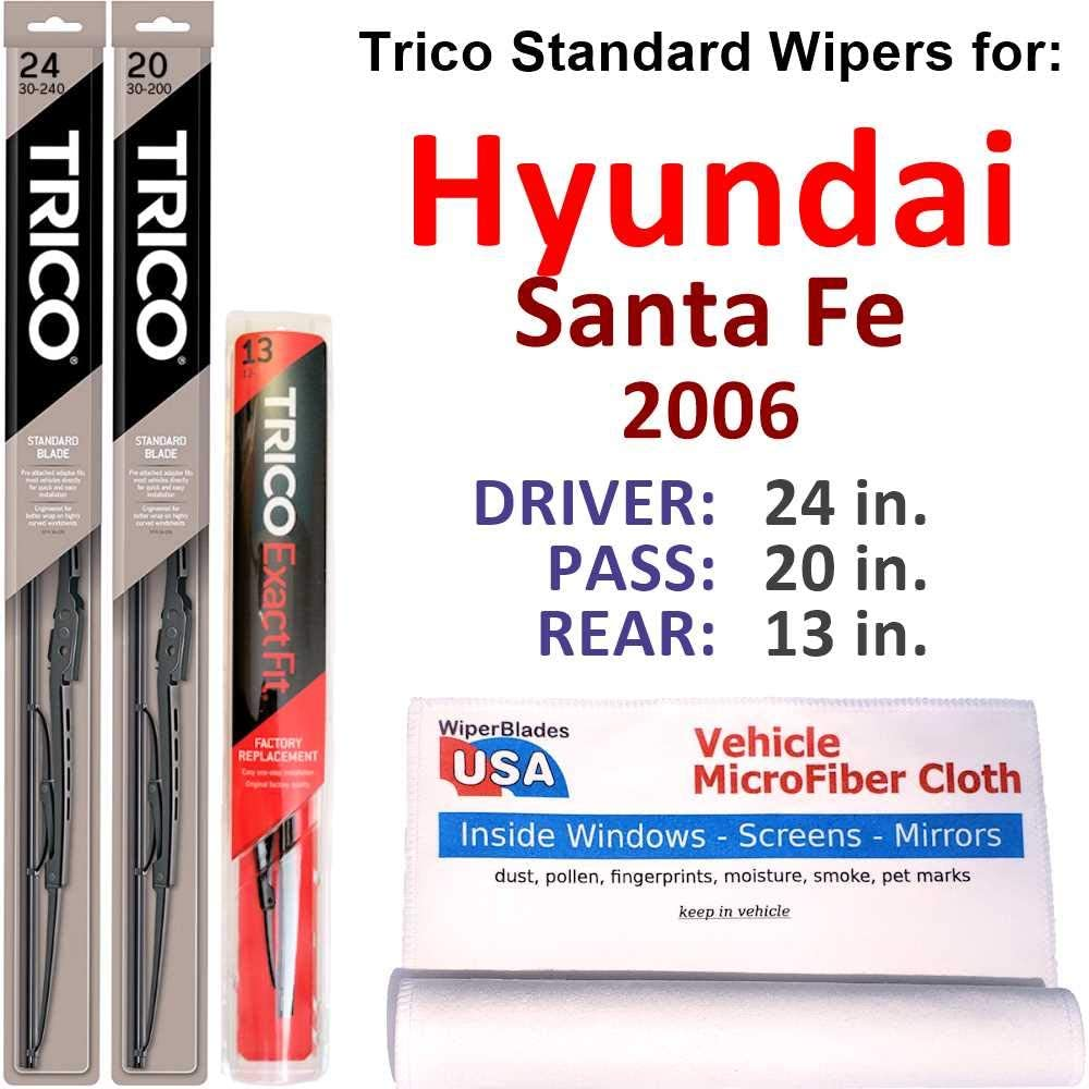 オリジナル Wipers for 2006 Hyundai Santa Fe Trico レビューを書けば送料当店負担 Set S Rear Steel w