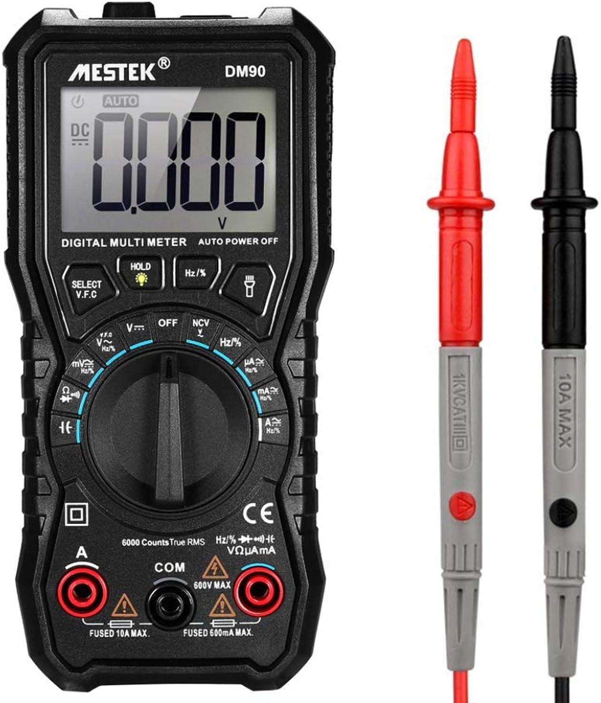 Auto-Range True RMS LCD Digital Multimeter DC AC Voltage Current Meter Capacitance Resistance Tester Voltmeter Ammeter(DM90)
