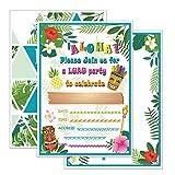 WERNNSAI Hawaii Aloha Invitations de Fête avec Enveloppes - 20 Set Été Tropical Cartes d'Invitation d'anniversaire