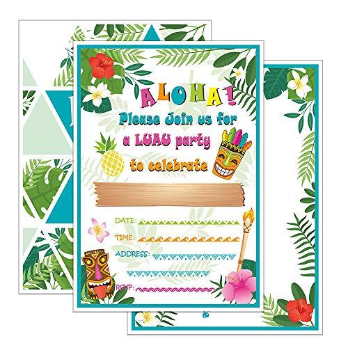 WERNNSAI Hawaii Aloha Party Einladungen mit Umschlägen - 20 Set Sommer Tropisch Geburtstag Einladungskarten