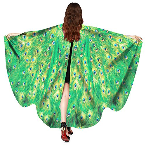 Xmiral Frauen Pfau Flügel Schal Schals, Damen Poncho Kostüm Zubehör Halloween Weihnachten Cosplay Kostüm Zusatz(Grün)