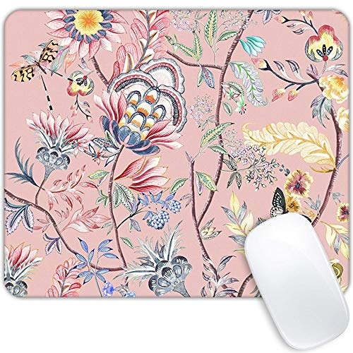 Mouse pad Watercolor Flower,Pink Butterfly Floral Rectangular Personalized Design Premium Texture Mouse pad Waterproof Non-Slip Rubber Base Custom Mouse pad Suitable for Laptop PC Gaming Office