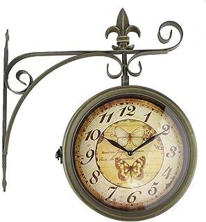 RD Reloj de Pared Coleccion Mariposas Estacion Forja Verde Oxido