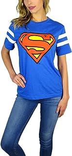 DC Comics Womens Superman Varsity Football Tee Blue Heather