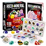 Dr. Daz 15 Rocks Collection Gemstone Collection 15 Big Rock Gem Mineral Kit for Kids Education Gift for Birthday Party & Classroom, Collection Box & Stone Educational Sheet Incldued