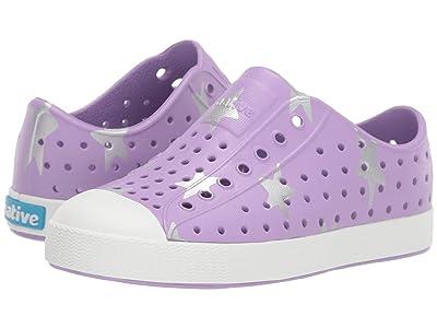 Native Kids Shoes Jefferson Print (Little Kid) (Lavender Purple/Shell White/Silver Big Star) Girls Shoes