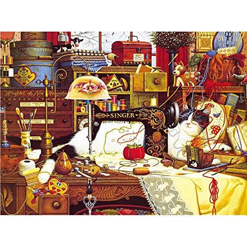 Legpuzzels Voor Volwassenen 300/500/1000 Stuk Kat Slapen Naast De Naaimachine Diy Houten Puzzel Kinderen Speelgoed