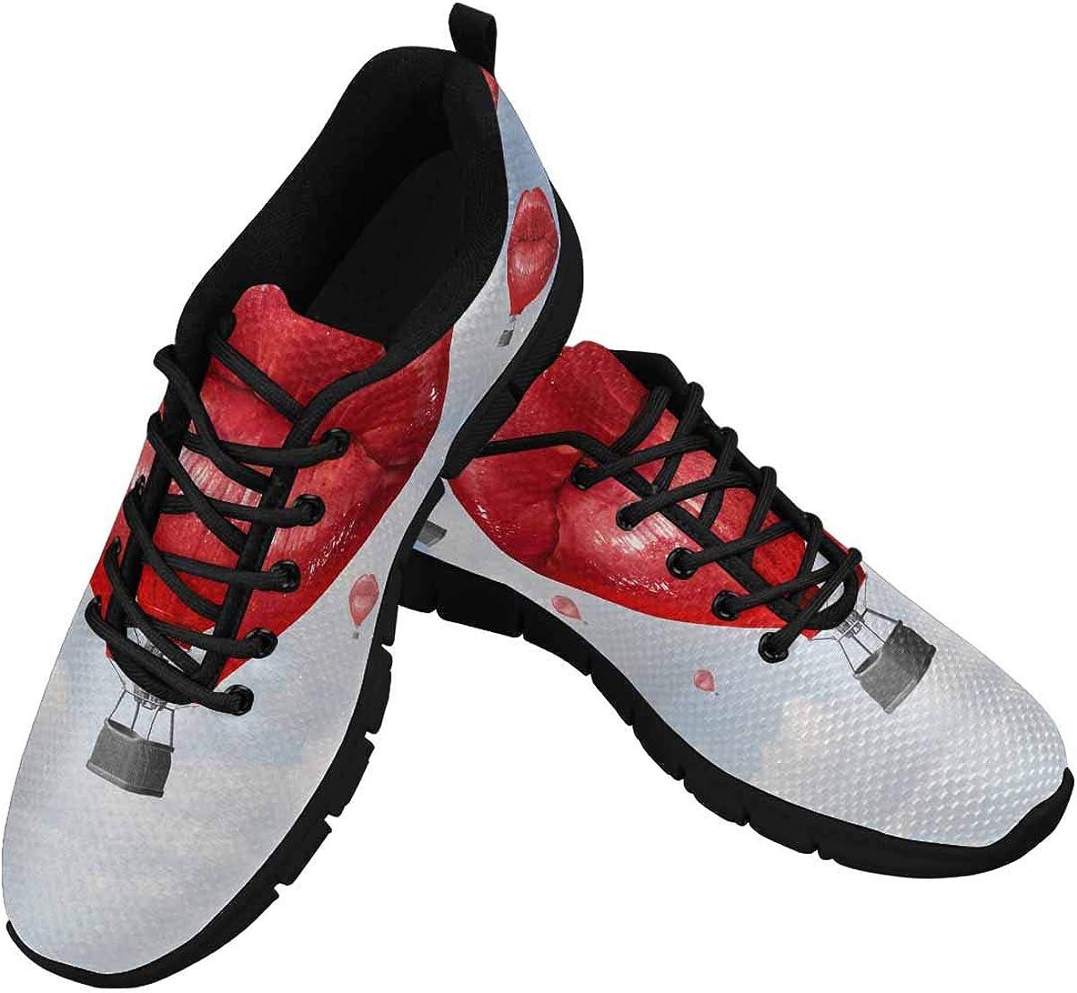 InterestPrint Love Balloons As a Hot Air Balloon Women's Athletic Walking Shoes Breathe Comfort Mesh