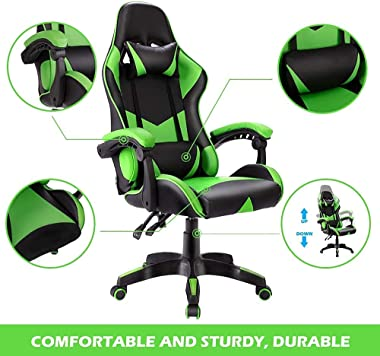 Advwin Gaming Chair Racing Office Chair, Ergonomic Computer Video Game Chair, Backrest and Seat Height Adjustable Swivel Recl