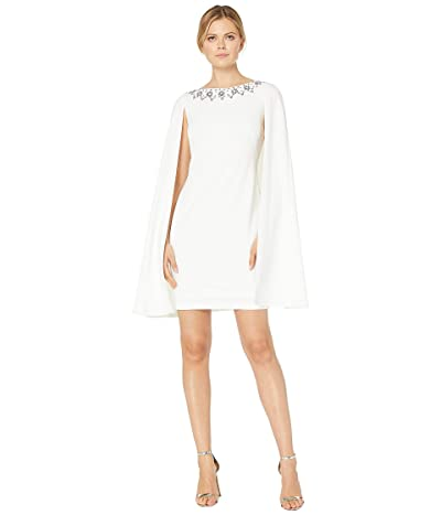 Adrianna Papell Beaded Neckline Cape Dress (Ivory) Women