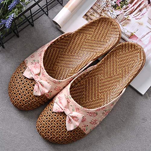 Flip Flops Asian Gras Sandalen und Pantoffeln Innenrutschfeste Starke untere Bodenwäsche Pantoffeln Frauen,B,39/40