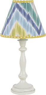 Cotton Tale Designs Zebra Romp Antique Lamp with Blue, Turquoise, Green, Gray/Grey Chevron Flame Stitch Zig Zag Fabric Shade, Polka Dot Trim, Uno Fitting (Shade Only)
