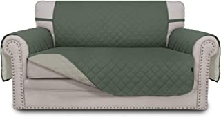 Best Easy-Going Sofa Slipcover Reversible Loveseat Cover Water Resistant Couch Cover Furniture Protector with Elastic Straps for Pets Kids Children Dog Cat(Loveseat,Greyish Green/Beige) Review