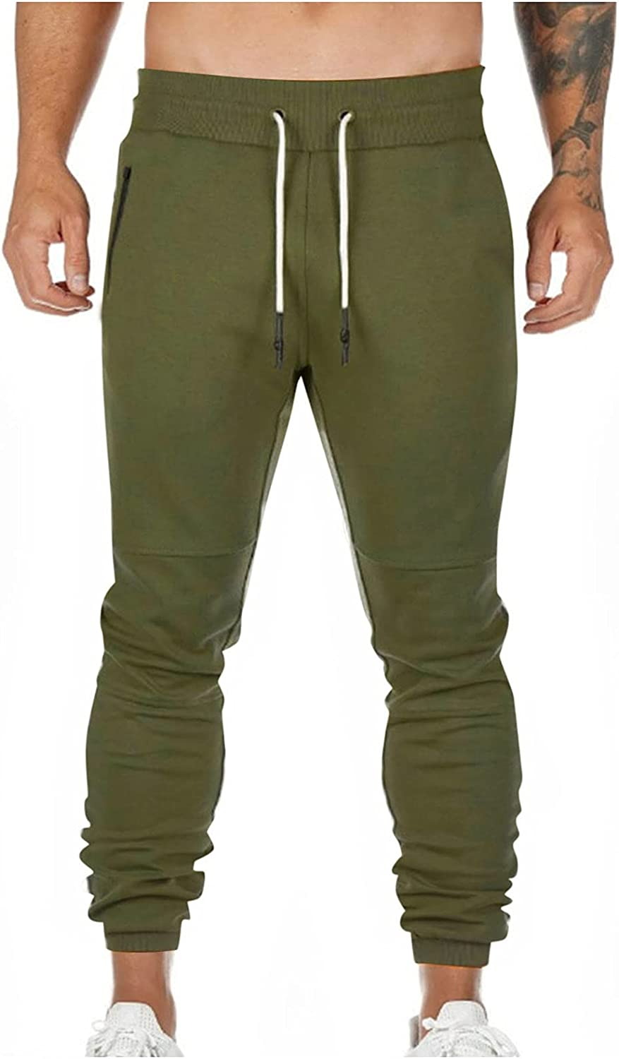 Men's Casual Pants Drawstring Sweat Jogging Cargo with Pockets Joggers Long Sports Active for Men Gym Training Pants