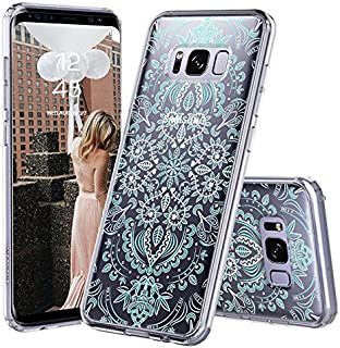 Galaxy S8 Case, Galaxy S8 Cover, MOSNOVO Aqua and White Mandala Printed Clear Design Transparent Plastic Hard Back Case with TPU Bumper Protective Case Cover for Samsung Galaxy S8 (2017)