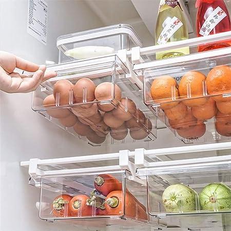 "YekouMax Fridge Drawer Organizer, Refrigerator Organizer Bins, Pull Out with Handle, Fridge Shelf Holder Storage Box, Clear Container for Food,Drinks,Fit for Fridge Shelf Under 0.6"" (1 PACK,2 Divider)"