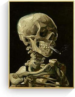 VCFHU Vincent Van Gogh Skull Cigarette Posters and Prints Skeleton Canvas Pintura Cuadros De Arte De Pared Abstracto para ...