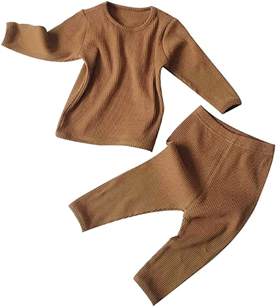 Toddler Baby Boys Girls Clothes Organic Ribbed Sweatsuit and Long Pants 2Pcs Casual Set Solid Color Outfit