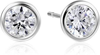 bezel set cz earrings