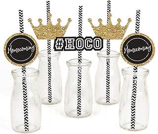 Big Dot of Happiness Hoco Dance - Paper Straw Decor - Homecoming Striped Decorative Straws - Set of 24