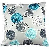 Funda de cojín cuadrada, de Hidoon®, de algodón y poliéster, con patrón gris y azul de hojas, 51 cm x 51 cm