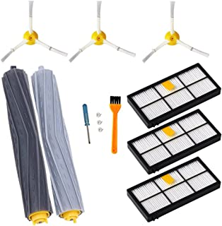 Accessories for iRobot Roomba 800 & 900 Series-Vacuum Cleaner Replacement Parts(9PCS) 1 Pair Debris Rollers,3 Filters,3 Side Brushes and 1 Free Filter Brush