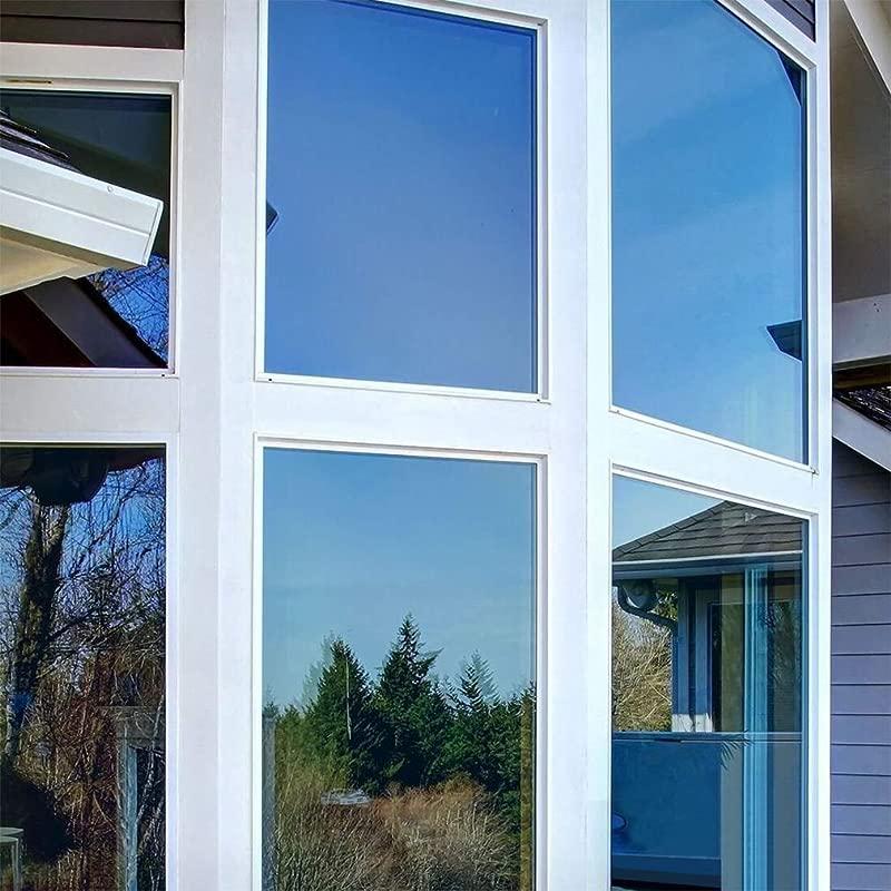 Oxdigi One Way Privacy Window Film Sun Blocking Mirror Tint Solar Film No Glue Static Window Cling Heat Control Anti UV Removable 29 5 X 118 Blue