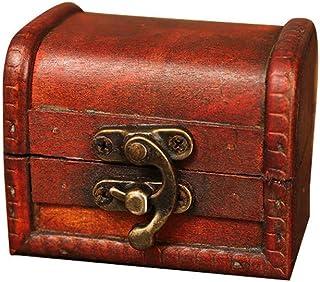 🍀Libobo🍀Jewelry Box Vintage Wood Handmade Box with Mini Metal Lock for Storing Jewelry Treasure Pearl