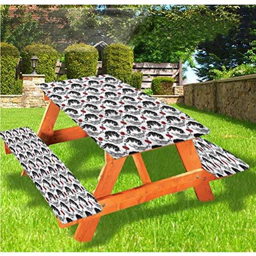 LEWIS FRANKLIN - Cortina de ducha romántica con fundas de banco, mantel ajustable con borde elástico de tigres, 70 x 72 pulgadas, juego de 3 piezas para camping, comedor, al aire libre, parque, patio