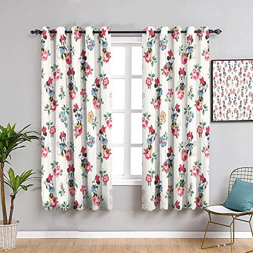 Paneles de cortina de Mickey Minnie Mouse, cortinas de 99 cm de largo Mick-ey Mou-se para habitación de niñas, cortina interior de 137 x 99 cm
