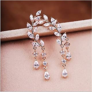 Exquisite Tassel Angel Wing Style Drop Earrings Fashion Cubic Zircon Crystal Post Stud Earring Jewelry