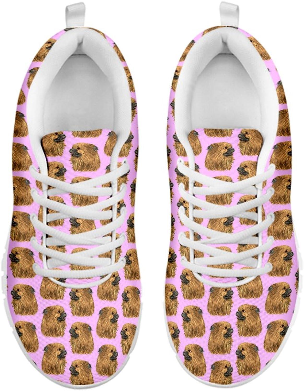 Women's Sneakers-Tibetan Spaniel Pattern Print Sneakers for Women Running shoes White