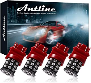 Antline 3157 3156 3057 4157 3056 LED Bulbs Brilliant Red, 12-24V Super Bright 800 Lumens Replacement for Tail Brake Lights, Turn Signal Lights, Parking Light (Pack of 4)