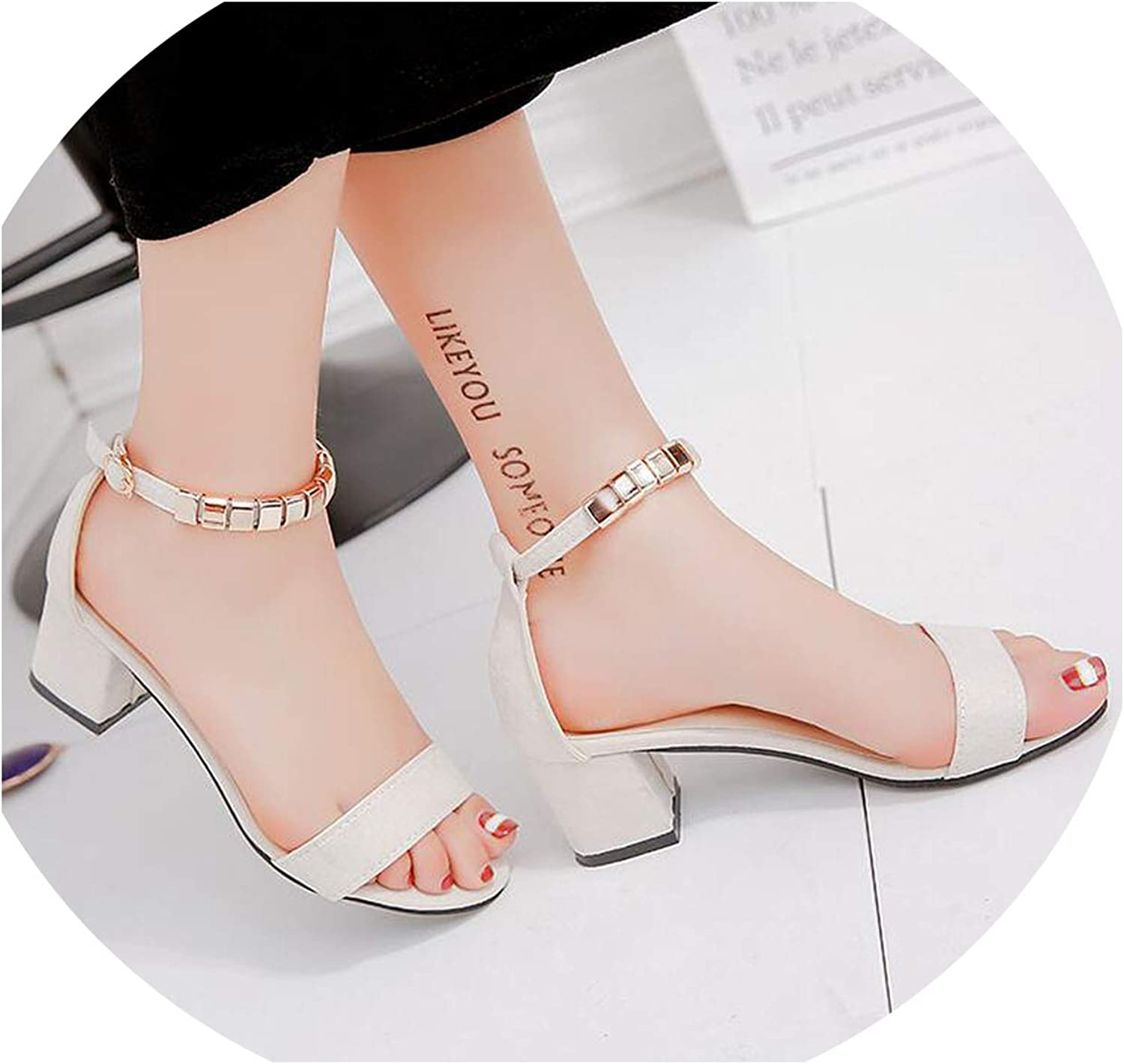 Crack of dawn Metal String Bead Summer Women Sandals Open Toe Square Heel Korean Style Gladiator