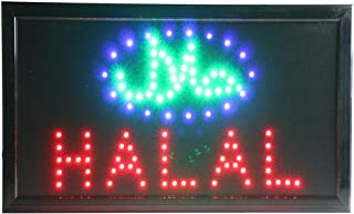 CHENXI led Halal Restaurant Advertising Sign hot Sale Custom Low Power 10 X 19 inch semi-Outdoor Ultra Bright (48 X 25 cm, Halal)
