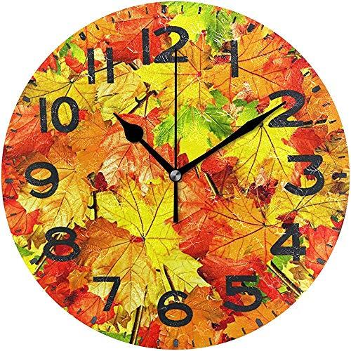 Cy-ril des Feuilles d'érable fraîches réalistes impriment Une Horloge Murale Ronde fonctionnant sur Batterie Horloge de Bureau silencieuse pour la Maison, Le Bureau, l'école