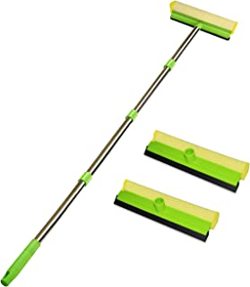 ITTAHO Multi-Use Window Squeegee, 2 in 1 Squeegee Window Cleaner with Long Extension Pole, Sponge Car Window Squeegee with...