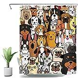 SVBright Doodle Duschvorhang mit H&e- & Katzengesichtern, lustig, Cartoon-Motiv, 152 x 183 cm, bunt, lustige Tiere, 12 Haken, Polyester, wasserdicht, für Badezimmer