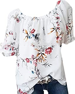 OTW Womens Short Sleeve T-Shirt Plus Size Cotton Summer Flower Print T-Shirt Top Blouse