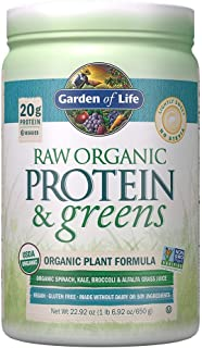 Garden of Life Greens and Protein Powder, 20 Servings, Organic Raw Protein and Greens with Probiotics/Enzymes, Vegan, Gluten-Free, Light Sweet Powder