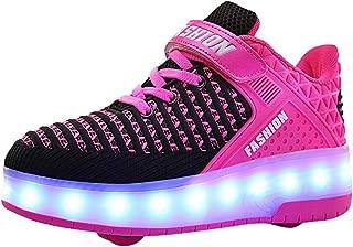 Roller Shoes for Girls Boys Kids USB Chargable LED Blinking Skate Sneaker Shoes with Wheels