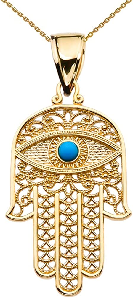 Middle Eastern Jewelry 10k Yellow Gold Hamsa Hand with Blue Evil Eye Pendant Necklace