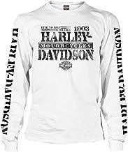 Harley-Davidson Men's Distressed Freedom Fighter Long Sleeve Shirt, White