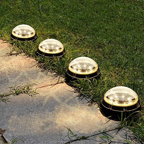 Solarlampen für Außen, VOLADOR IP67 Voll Wasserdichte Solarleuchten Garten, Jede Solar-Bodenleuchte verfügt über 8 LEDs, Solarlampen für Außen Garten, LED-Gartenleuchten Solar- Warmweiß (4 Pack)