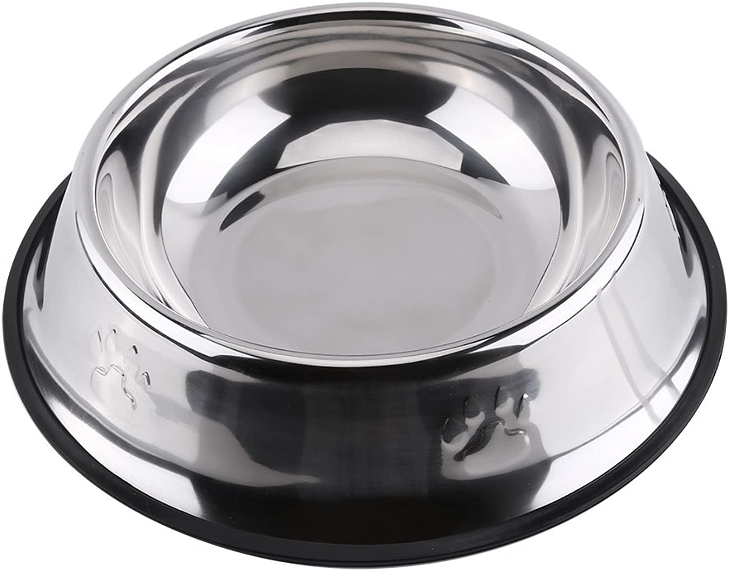 Paw Print Designed Dog Bowl Diner Dish Stainless Steel Anti Slip Cat Food Water with Paw Design Feeder (30cm)