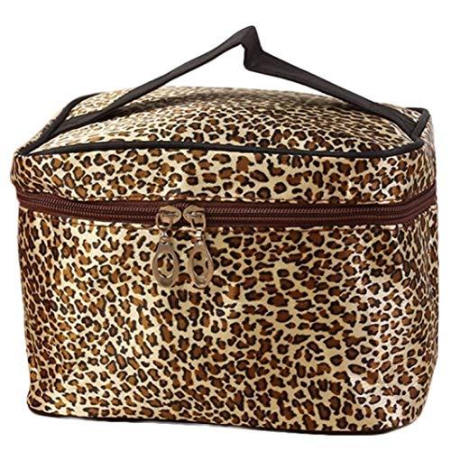 Ogquaton Premium-Qualität Make-up Tasche Werkzeuge Aufbewahrungstasche Leopardenmuster Kosmetiktaschen Frauen Reisen Make-up Tasche Tragbare Schminktaschen Braun
