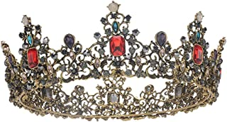 S SNUOY Baroque Vintage Queen Crowns for Women Full Round Crystal Tiara Costume Jewelry