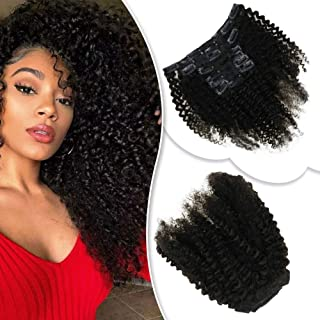 RUNATURE 14 Inches Afro Kinky Curly Clip In Hair Extensions Natural Hair Clip Ins For Black Women Remy Human Hair Curly Clip In Hair Extensions 7Pcs 100g Natural Black Color Afro Curl Clip Ins Hair