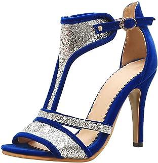 De Amazon Zapatos Mujer esTurquesa Para Tacón CxBrodeW