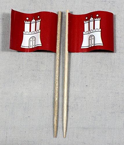 Buddel-Bini Party-Picker Flagge Hamburg Papierfähnchen in Profiqualität 50 Stück 8 cm Offsetdruck Riesenauswahl aus eigener Herstellung